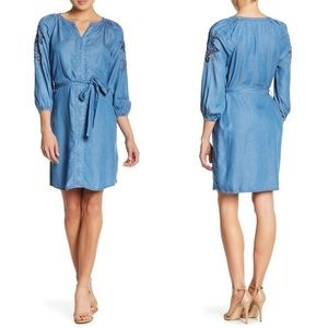 Embroidered Dress Shirt Dress Denim Blue Midi